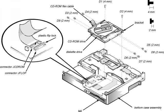 bottom case assembly - dell latitude xpi cd